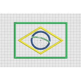 Brazil Brazilian Flag Applique Embroidery Design in 4x4 and 5x7 Sizes