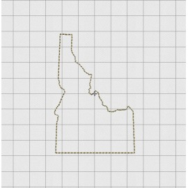 Idaho State Felt Embroidery Design in 1 inch, 1.5 inch, 2 inch, and 3 inch Sizes
