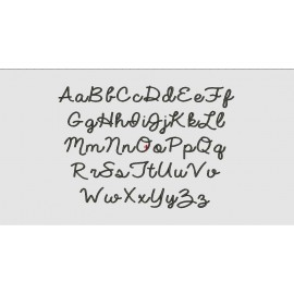 """Smooth Script Font Machine Embroidery Design Upper and Lower Case Alphabet A-Z in 1"""", 2"""", and 3"""" Sizes"""