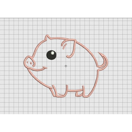 Pig Big Smile Cartoon Applique Embroidery Design in 4x4 and 5x7 Sizes -  Pixels 2 Threads