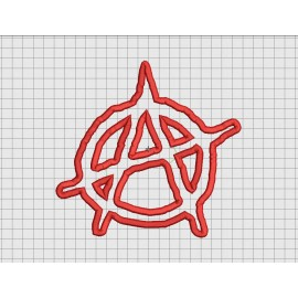 Anarchy Symbol Applique Embroidery Design in 4x4 5x5 6x6 and 7x7 Sizes