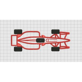Racecar Top View Applique Embroidery Design in 4x4 5x7 and 6x10 Sizes