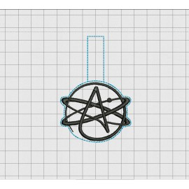 "Atheist Symbol Keytag Luggage Tag Felt Embroidery Design in 1.75"", 2"", 3"", and 4"" Sizes"