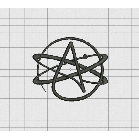 Atheist Symbol Embroidery Design In 2x2 3x3 4x4 5x5 And 6x6 Sizes