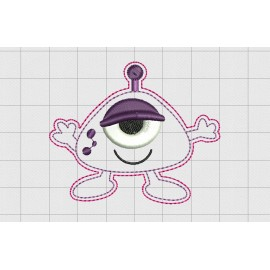 "Alien Cyclops Felt Embroidery Design in 1.5"" 2 inch and 3"" Sizes"