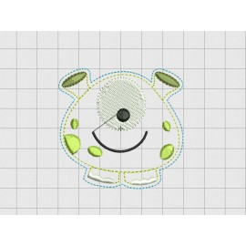 "Alien Cute Felt Embroidery Design in 1.5"" 2 inch and 3"" Sizes"