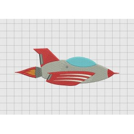 Jet Airplane Embroidery Design in 3x3 4x4 and 5x7 Sizes