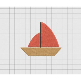 Sailboat Simple Mini Embroidery Design in 2x2 3x3 and 4x4 Sizes
