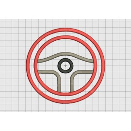 Steering Wheel 3 Layer Applique Embroidery Design in 3x3 4x4 5x5 and 6x6 Sizes