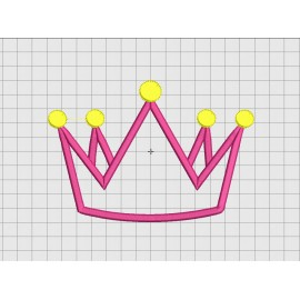 Crown Single Layer Applique Embroidery Design in 3x3 4x4 and 5x7 Sizes