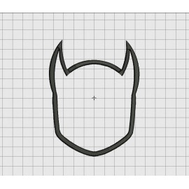 Batman Style Mask Applique Embroidery Design in 3x3 4x4 5x5 and 6x6 Sizes