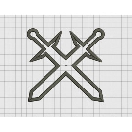 Crossed Swords Applique Embroidery Design in 4x4 5x5 6x6 and 7x7 Sizes