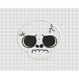 Skull Grumpy Applique Embroidery Design in 3x3 4x4 5x5 and 6x6 Sizes
