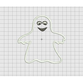 Ghost Happy Halloween Applique Embroidery Design in 4x4 5x5 and 6x6 Sizes