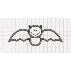 Bat Smile Halloween Applique Embroidery Design in 4x4 and 5x7 Sizes