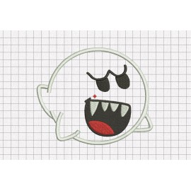 Boo Ghost Halloween Applique Embroidery Design in 3x3 4x4 5x5 and 6x6 Sizes