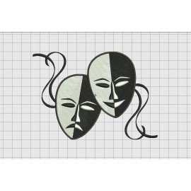 Theatre Mask Embroidery Design in 4x4 and 5x7 Sizes