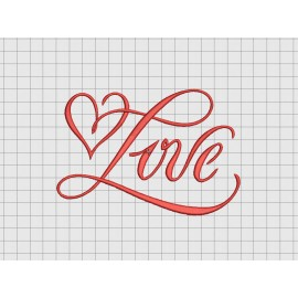 Love Heart Fancy Script Embroidery Design in 3x3 4x4 and 5x7 Sizes