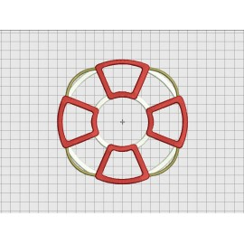 Lifebuoy Lifesaver Applique Embroidery Design in 4x4 5x5 6x6 and 7x7 Sizes