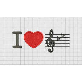 I Love Music Heart Embroidery Design in 4x4 and 5x7 Sizes