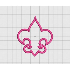 Fleur De Lis 1 Layer Applique Embroidery Design in 3x3 4x4 5x5 and 6x6 Sizes