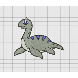 Loch Ness Monster Nessie Swimming Dinosaur Embroidery Design in 4x4 and 5x7 Sizes