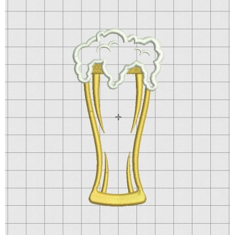 Beer Pint and Foam Applique Embroidery Design in 3x3 4x4 5x5 and 6x6 Sizes