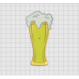 Beer Pint and Foam Embroidery Design in 2x2 3x3 4x4 5x5 and 6x6 Sizes