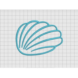 Blue Seashell Applique Embroidery Design in 3x3 4x4 5x5 and 6x6 Sizes