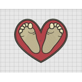 Heart with Feet Embroidery Design in 3x3 4x4 5x5 and 6x6 Sizes