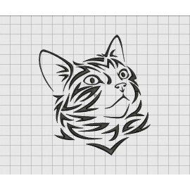Cat Kitten Feline Tribal Embroidery Design in 3x3 4x4 5x5 and 6x6 Sizes