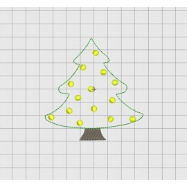 "Christmas Tree Felt Embroidery Design in 2 inch 2.5"" 3 inch and 4"" Sizes"