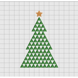 Christmas Tree Mosaic Embroidery Design in 3x3 4x4 5x5 and 6x6 Sizes