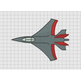 Jet Fighter F-18 Style Airplane Embroidery Design in 3x3 4x4 5x7 and 6x10 Sizes