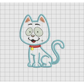Cat Red Collar Applique Embroidery Design in 4x4 5x5 and 6x6 Sizes