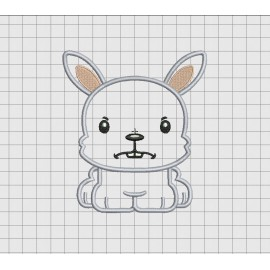 Bunny Rabbit Square Jaw Applique Embroidery Design in 4x4 5x5 and 6x6 Sizes