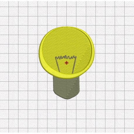 Light Bulb with Filament Embroidery Design in 2x2 3x3 and 4x4 Sizes -  Pixels 2 Threads