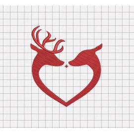 Deer Buck Heart Embroidery Design in 2x2 3x3 4x4 5x5 and 6x6 Sizes