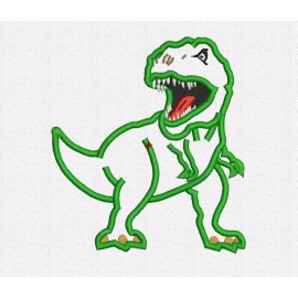 "Scary T-rex Dinosaur Applique Embroidery Design in 3x3 4x4 5x5 6x6 7x7 and 10"" Sizes"
