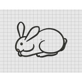 Rabbit Hare Bunny Resting Applique Embroidery Design in 4x4 and 5x7 Sizes