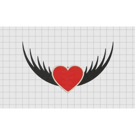 Heart and Wings Embroidery Design in 3x3 4x4 5x5 6x6 and 7x7 Sizes