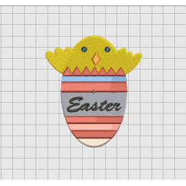 Easter Egg with Chick Embroidery Design in 3x3 4x4 and 5x5 Sizes