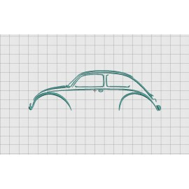 Car Outline Bug Embroidery Design in 3x3 4x4 and 5x7 Sizes