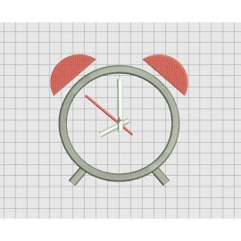 Alarm Clock Twin Bells Applique Embroidery Design in 3x3 4x4 5x5 and 6x6 Sizes