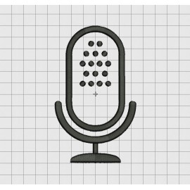 Microphone Applique Embroidery Design in 3x3 4x4 5x5 and 6x6 Sizes