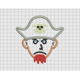 Pirate Man Applique Embroidery Design in 4x4 5x5 6x6 and 7x7 Sizes