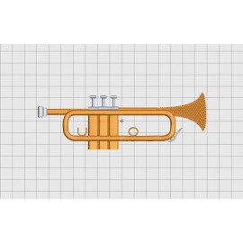 Trumpet Brass Instrument Embroidery Design in 3x3 4x4 and 5x7 inch Sizes