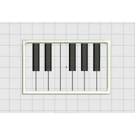 Piano Keyboard Section Applique Embroidery Design in 4x4 5x7 and 6x10 inch Sizes