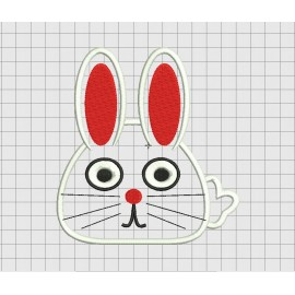 Easter Bunny Fluffy Tail Rabbit Applique Embroidery Design in 3x3 4x4 5x5 6x6 and 7x7 Sizes
