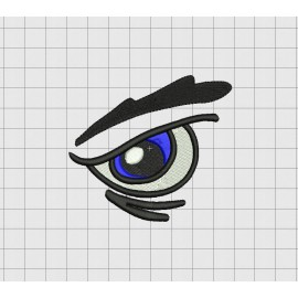 Angry Eye Eyeball Full Stitch Embroidery Design in 1x1 2x2 3x3 and 4x4 Sizes